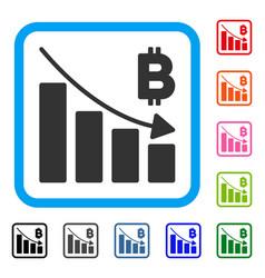 Bitcoin recession bar chart framed icon vector