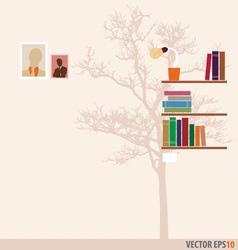 Bookshelf and tree wallpaper vector image vector image