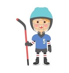 Boy hockey player vector