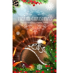 Brown christmas bauble with sparkles and fir vector