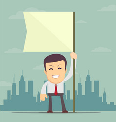 Businessman holding white flag place for text vector