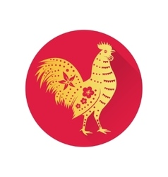Chinese gold rooster flat icon vector image