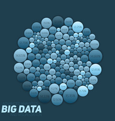 Circular big data blue visualization vector