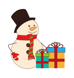 Color silhouette with snowman and gift boxes vector