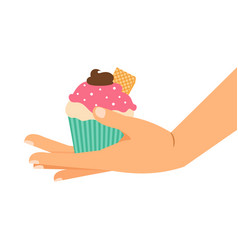 cupcake with wafer and chocolate cream vector image