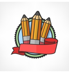 Emblem with pencils on white vector image vector image