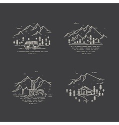 Flat line with wild landscapes vector