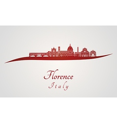 Florence skyline in red vector image vector image
