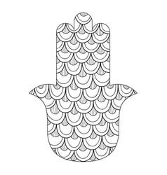 Hamsa hand drawn symbol black and white vector