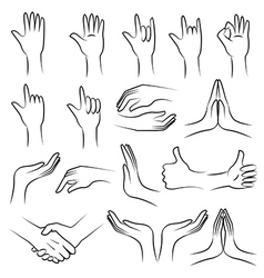 Hand set on white blackground vector image vector image