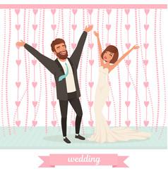 happy married couple having fun on dance floor vector image