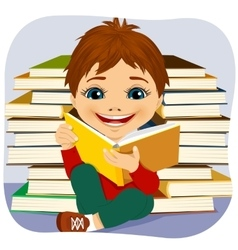 little boy reading an interesting book vector image