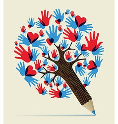 Love hands concept pencil tree vector image