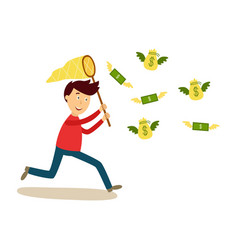 Man running after flying money with butterfly net vector