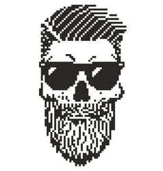 pixel hipster skull vector image