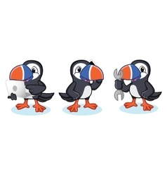 Puffin mascot with phone vector