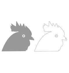 Rooster head grey set icon vector
