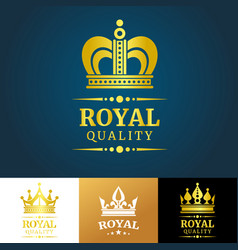 royal quality crown logo template vector image