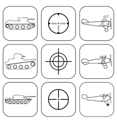 set of military icons vector image