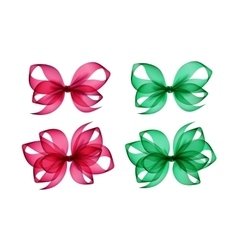 Set of Pink Green Gift Bows Different Shapes vector image vector image