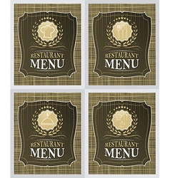 Set of restaurant menu cover design in vintage vector image