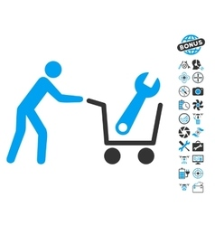 Tools shopping icon with copter tools bonus vector