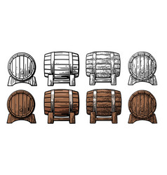 wooden barrel front and side view engraving vector image vector image