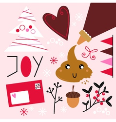 Xmas baking set isolated on pink vector image