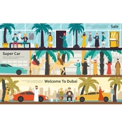 Sale super car welcome to dubai flat office vector