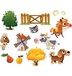 Collection of farm animals vector