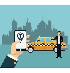 Driver taxi service online app city background vector