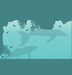 silhouette of big whale on sea landscape vector image