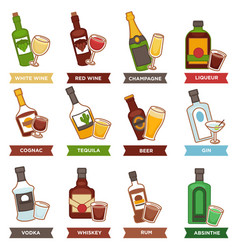 Alcohol drinks bottles and cocktails glasses vector
