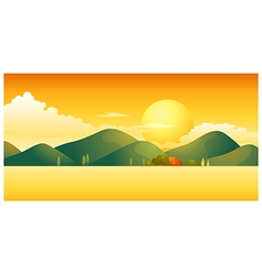 Sunset over mountain landscape vector
