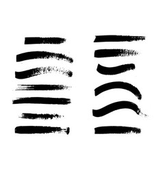Set of black paint ink brush strokes lines vector