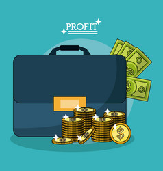 Colorful poster with profit money briefcase and vector