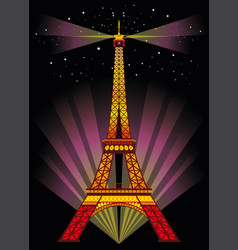 Colorful eiffel tower in night vector