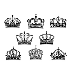 Collection of heraldic royal crowns vector
