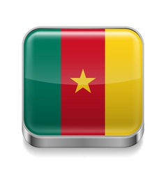 Metal icon of Cameroon vector image