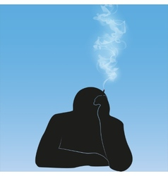 Silhouette smoking person background vector