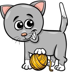 cat with yarn cartoon vector image