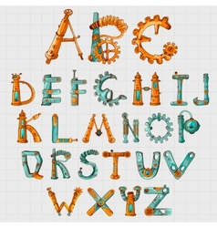 Mechanic alphabet colored vector