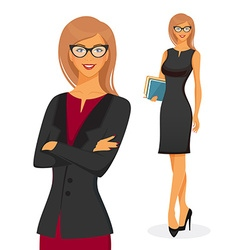 Businesswoman in red dress vector