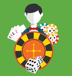 Gambler casino icons set vector