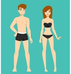 Beautiful cartoon nude couple fashion vector