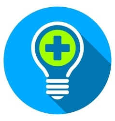 Medical bulb flat round icon with long shadow vector