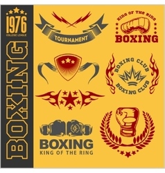 Boxing labels and icons set vector image