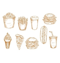 Fast food and desserts sketches vector