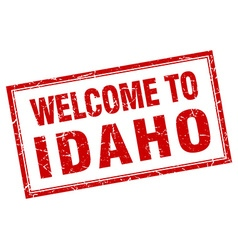 Idaho red square grunge welcome isolated stamp vector