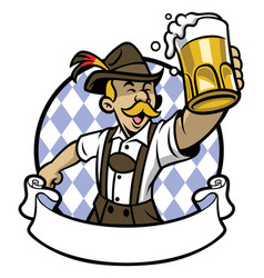 Bavarian man celebrating oktoberfest vector